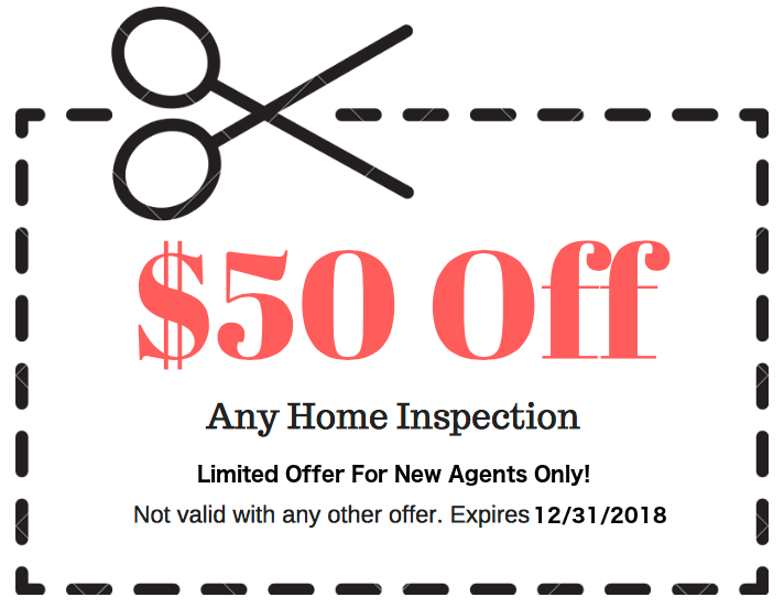 $50 New agent coupon, home inspection discount, greensboro home inspection coupon